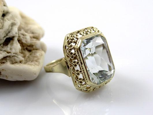 antiker art deco ring mit 8 00 karat aquamarin 585 gold. Black Bedroom Furniture Sets. Home Design Ideas