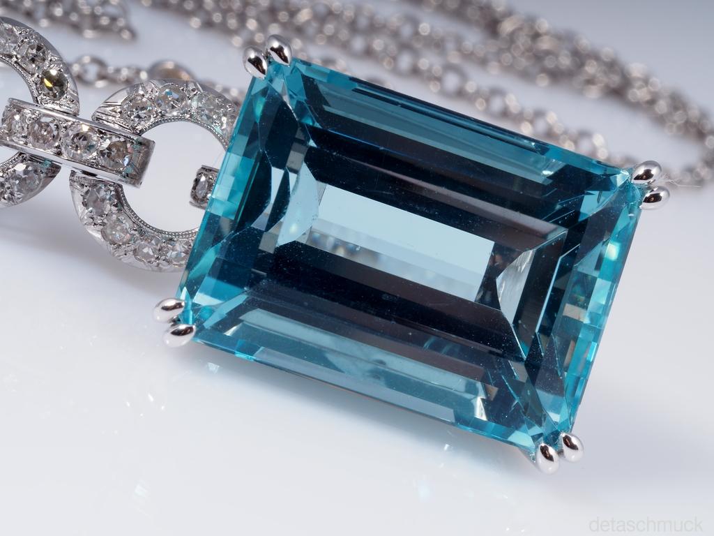 vintage kette anh nger aquamarin diamanten platin wert ca eur ebay. Black Bedroom Furniture Sets. Home Design Ideas