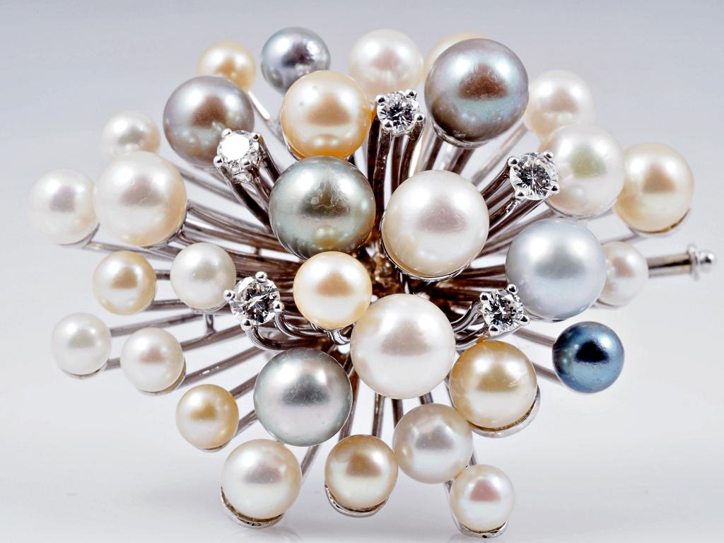 brosche anh nger brillanten akoya zucht perlen 750 gold wert ca eur ebay. Black Bedroom Furniture Sets. Home Design Ideas
