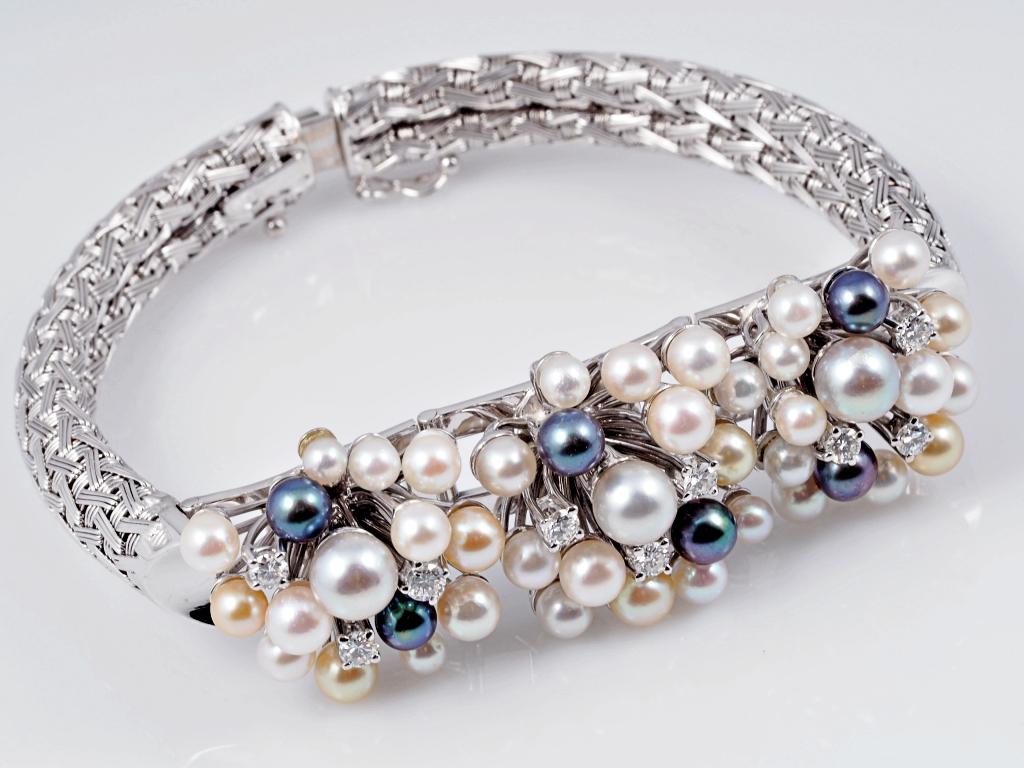 marken armband brillanten akoya zucht perlen 750 gold wert ca eur ebay. Black Bedroom Furniture Sets. Home Design Ideas