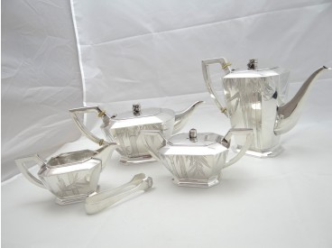 antikes KAFFEE / TEE SERVICE / 925 STERLING SILBER / CHINA EXPORT MARKE