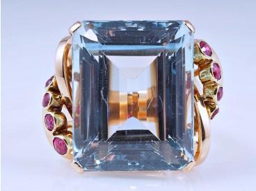 Art Deco Ring 20,50 Karat Topas Rubine 750 Gold ca. 14,20 Gramm um 1940