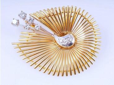 Brosche Brillanten Diamanten 750 Gold Deutschland um 1970 Wert: ca. 1.900,- EUR
