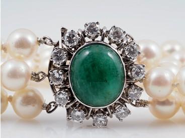 Akoya Zucht Perlen Armband 1,08 Karat Brillanten 5,00 Karat Smaragd 585 Gold