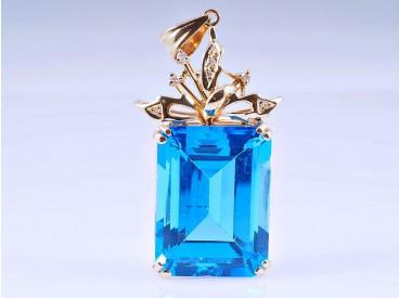 Anhänger 30,04 Karat Diamanten Topas 585 Gold 14 Karat um 1990