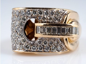 VINTAGE RING mit 2,20 Karat BRILLANTEN und DIAMANTEN / 750 GOLD