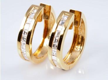 OHRRINGE / CREOLEN mit 1,10 Karat DIAMANTEN / 750 GOLD / WERT: 2.890,- EUR