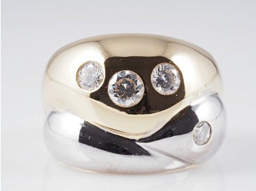 Bicolor Ring 1,03 Karat Brillanten 750 Gold 18 Karat ca. 16,00 Gramm