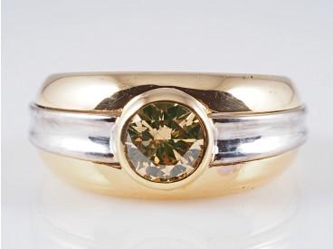 Bicolor Ring 0,75 Karat Solitär Brillant 750 Gold 18 Karat ca. 9,70 Gramm