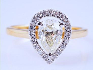 Ring 0,17 Karat Brillanten 1,01 Karat Diamant IGI Expertise 750 Gold