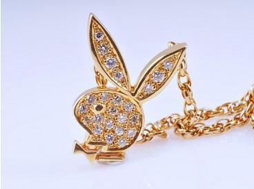 Kette Collier Hasenkopf 0,28 Karat Brillanten 750 Gold 18 Karat