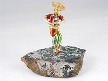 Damiani Brosche Junge mit Trommel Brillanten 750 Gold 18 Karat