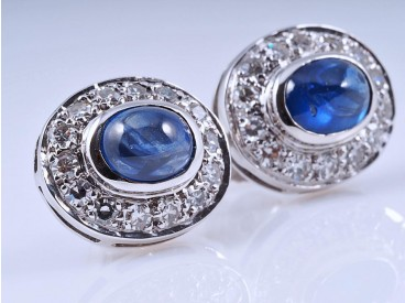 Ohrringe Ohrstecker 0,50 Karat Diamanten 1,20 Karat Saphire 750 Gold