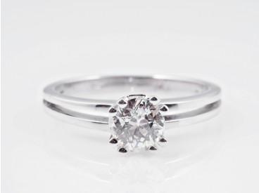 vintage Ring 0,70 Karat Solitär Diamant 750 Weiss Gold 18 Karat