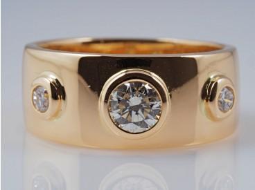 Band Ring 0,35 Karat Brillanten Solitär Brillant 750 Gold 18 Karat