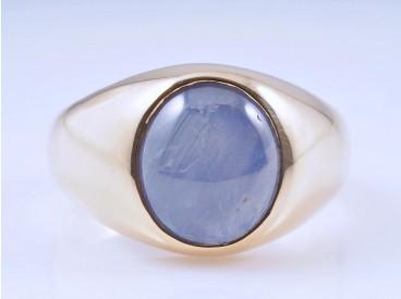 Herren Damen Ring Stern Saphir 750 Gold ca. 10,40 Gramm Deutschland um 1980