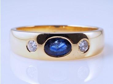 Herren Damen Band Ring Brillanten Saphir 750 Gold Wert: ca. 1.200,- EUR