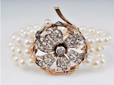 vintage Akoya Zucht Perlen Armband 1,00 Karat Diamanten 750 Gold Platin