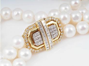 zweireihiges Akoya Perlen Collier Kette 1,50 Karat Brillanten Diamanten 750 Gold
