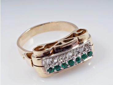 antiker Ring Diamanten Smaragde 585 Gold Deutschland um 1940