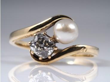 TOI ET MOI ART DECO RING mit DIAMANT und NATUR PERLE / 585 GOLD / um 1920