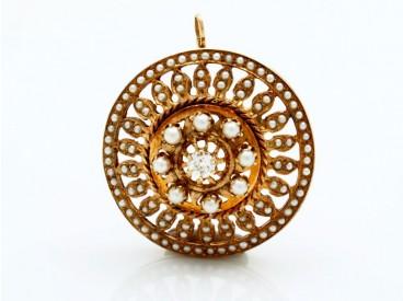 antiker Anhänger 0,35 Karat Diamant Saatperlen 585 Gold 14 Karat