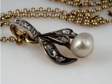 antiker Anhänger Kette Diamanten Natur Perle 585 Gold DSEF Expertise
