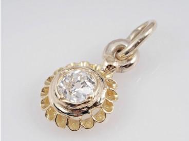 antiker Anhänger 0,35 Karat Solitär Altschliff Diamant 585 Gold