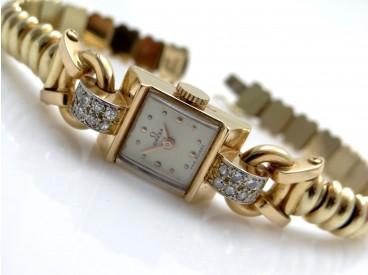 Omega Art Deco Damen Uhr Diamanten Wempe Band 750 Gold 18 Karat