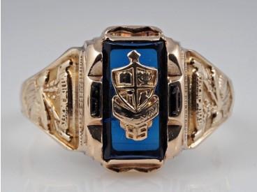 High School USA Ring um 1961 Yellow Jackets Glasstein 417 Gold 10 Karat