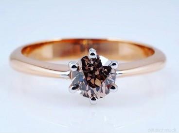 Ring 0,74 Karat Solitär Altschliff Diamant 750 Gold IGI Expertise