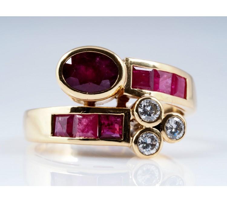 RING mit 2,74 Karat BRILLANTEN und RUBINEN / 750 GOLD