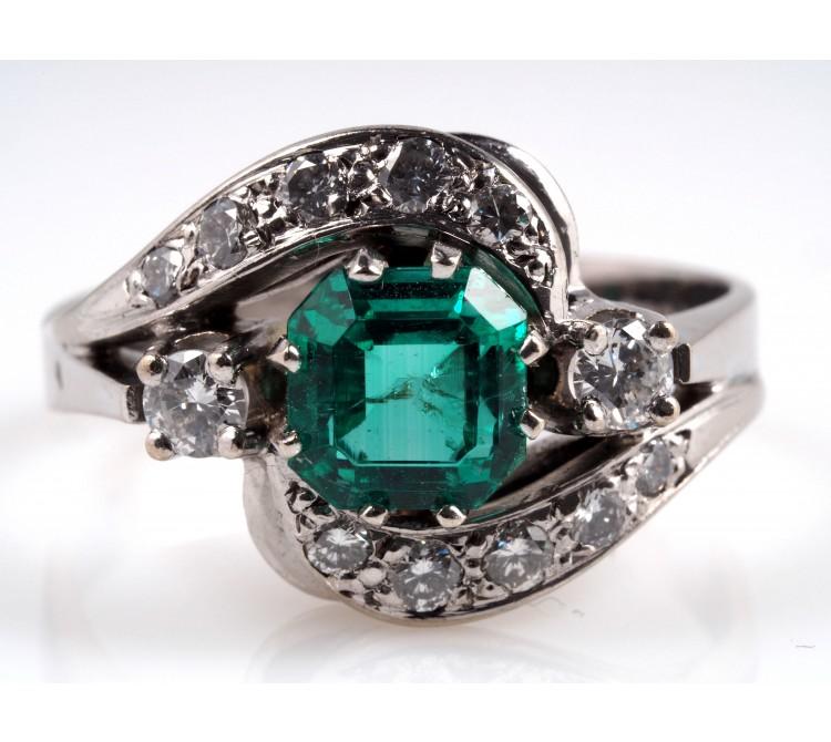 Ring 2,00 Karat Brillanten Smaragd 585 Gold Wert: ca. 2.150,- EUR