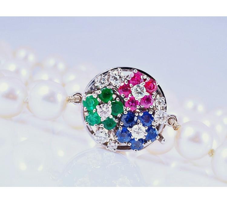 Akoya Zucht Perlen Kette Collier Brillanten Smaragd Rubin Saphir 750 Gold