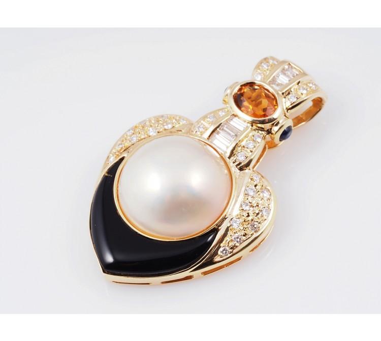 Anhänger Brillanten Farbsteine Mabe Perle 750 Gold Wert: ca. 2.800,- EUR