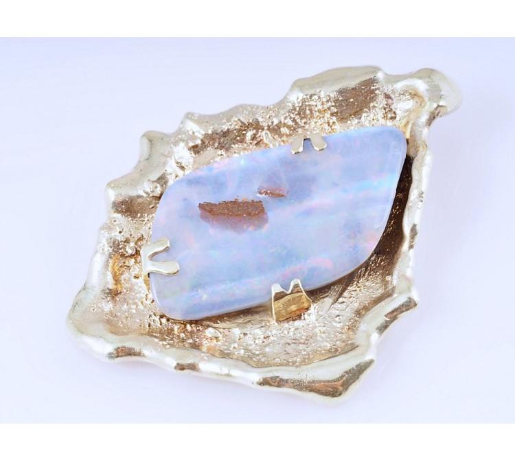 Anhänger 15,00 Karat Boulder Opal 585 Gold Einzelanfertigung Deutschland um 1990