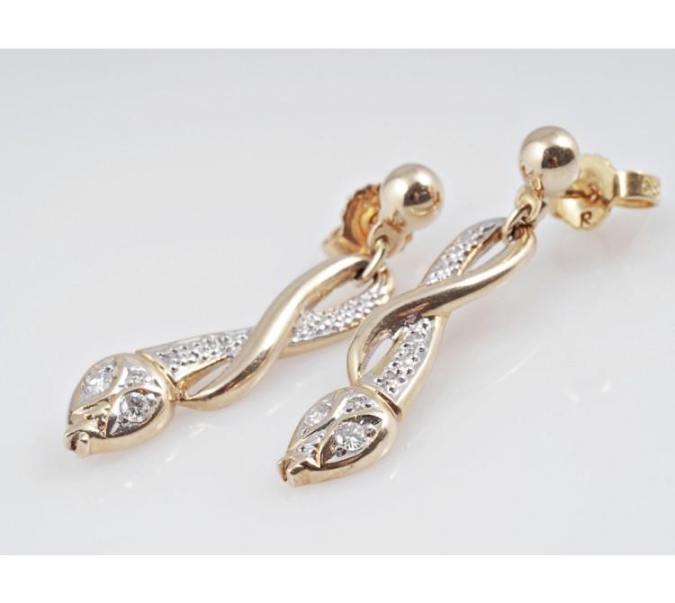 Ohrstecker Ohrringe in Schlangenform Brillanten 585 Gold 14 Karat