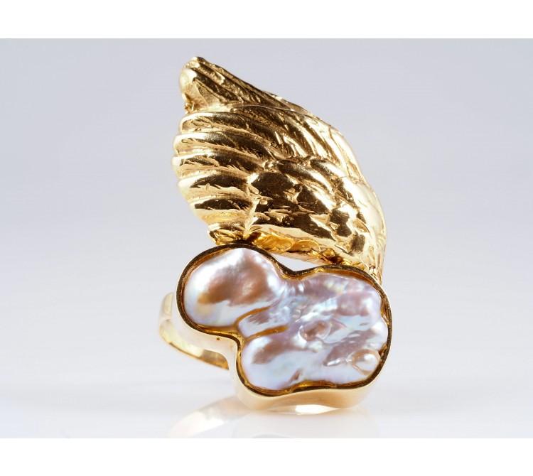 Designer Engel Amour Ring Keshi Perle 750 Gold 18 Karat