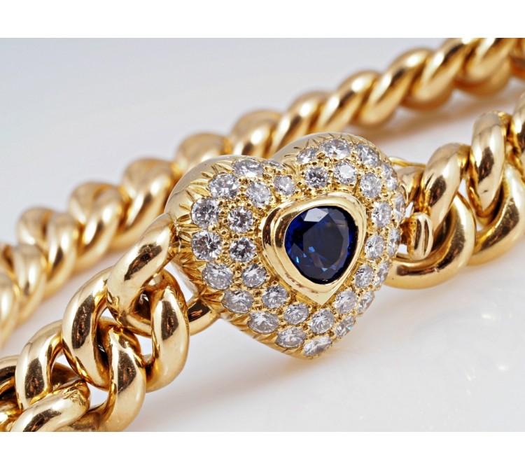 Juwelier Haban Armband 1,20 Karat Brillanten 0,50 Karat Saphir 585 Gold