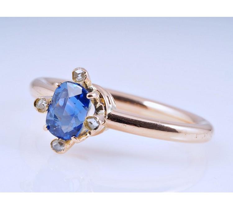 vintage Ring Diamanten 1,00 Karat Saphir 585 Rosé Gold 14 Karat