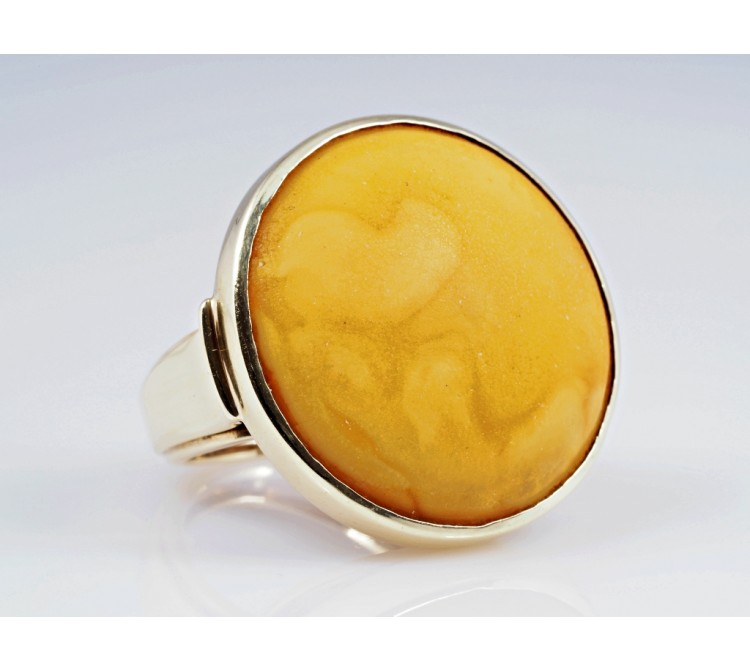 vintage Ring Butterscotch Bernstein 585 Gold 14 Karat