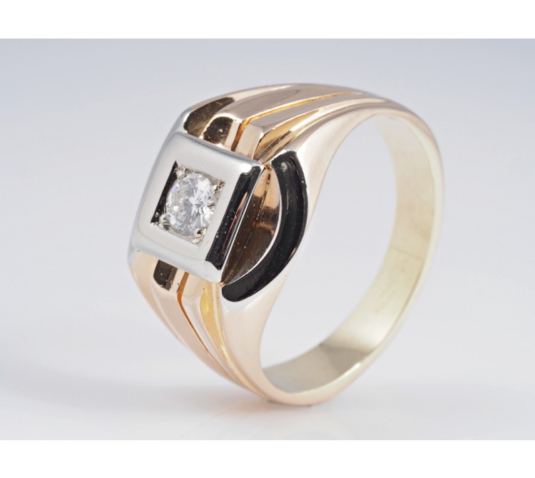 Herren Damen Ring 0,25 Karat Solitär Brillant 750 Gold ca. 11,20 Gramm