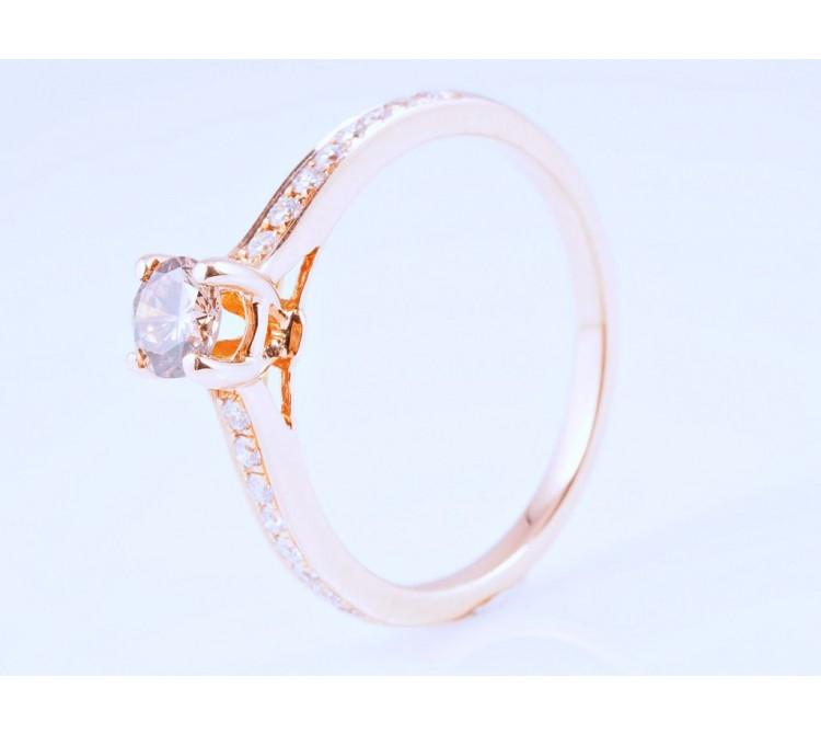 Ring 0,34 Karat Brillant 0,18 Karat Brillanten 750 Gold IGI Expertise