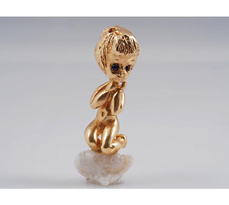 Brosche Junge Putto Biwa Perle 585 Gold 14 Karat Handarbeit