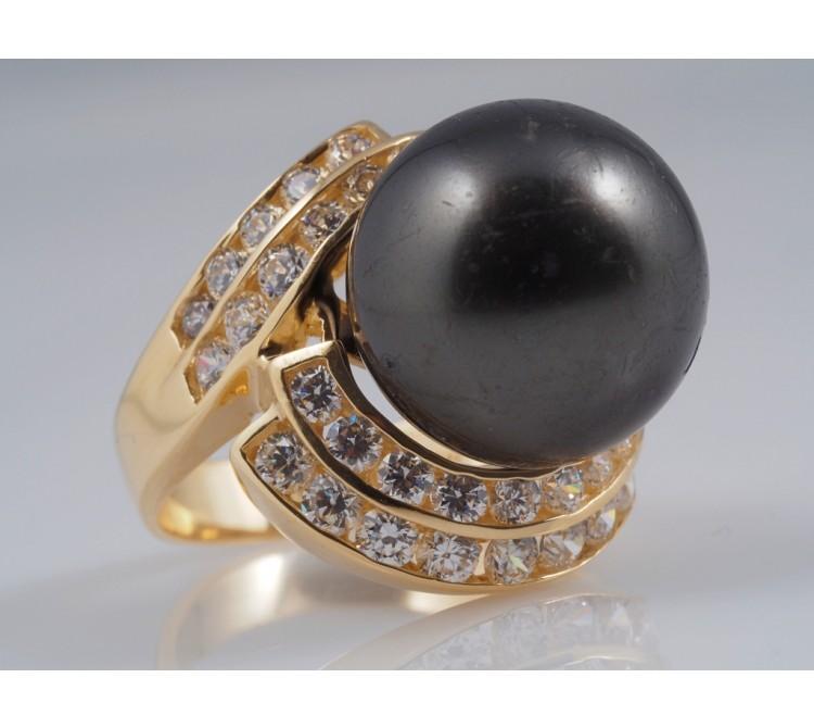 Ring künstliche Perle Zirkonia 585 Gold 14 Karat ca. 11,70 Gramm