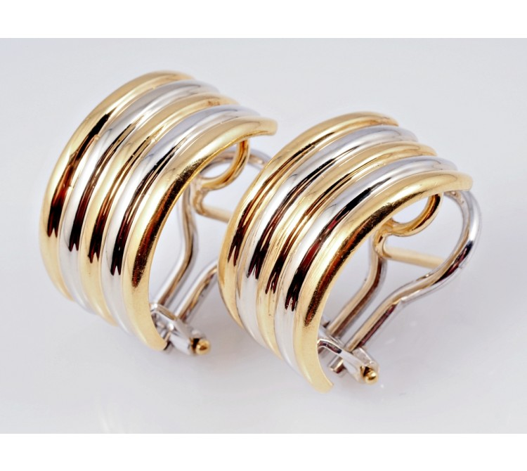 Juwelier Carl Bucherer Bicolor Ohrringe Creolen 750 Gold 18 Karat