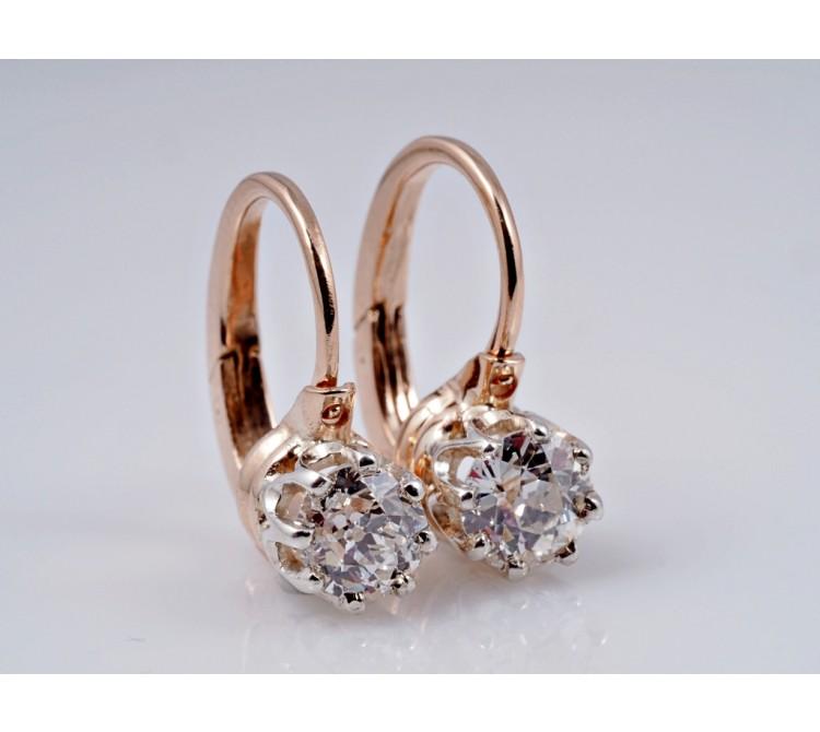 antike russische Ohrringe 0,80 Karat Diamanten 56 Gold