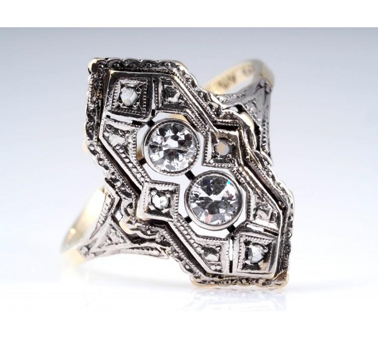 antiker ART DECO RING mit 0,30 Karat DIAMANTEN / 585 GOLD und PLATIN