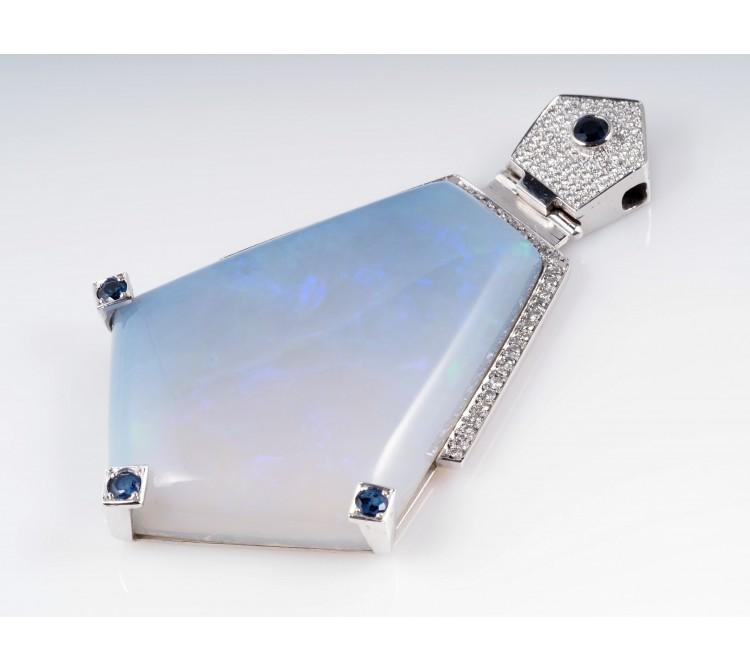Anhänger Brillanten Voll Opal Saphire 950 Platin Wert: ca. 12.300,- EUR