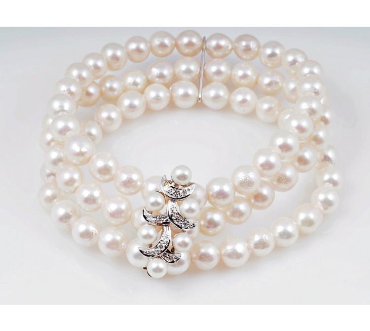 Akoya Zucht Perlen Armband 0,12 Karat Diamanten 585 Weiss Gold